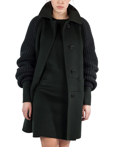 Akris Marais Textured-Sleeve Double-Face Coat, Shadow (Green)