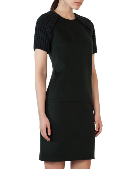 Double-Face Cashmere Dress with Knit Short Sleeves, Shadow (Green)