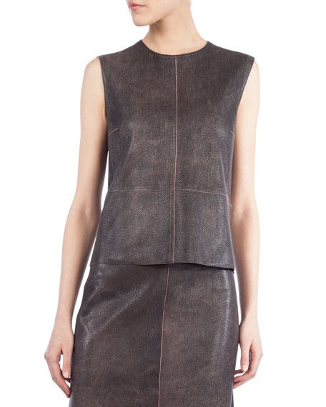 Akris Sleeveless Antique Napa Leather Top, Sepia