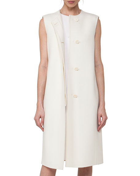 Akris Sleeveless Double-Face Wool Shift Dress, Crema