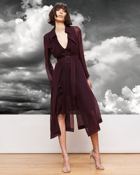 Silk Georgette Sleeveless V-Neck Pleated Dress, Purple