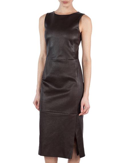Sleeveless Napa Leather Sheath Dress, Brown