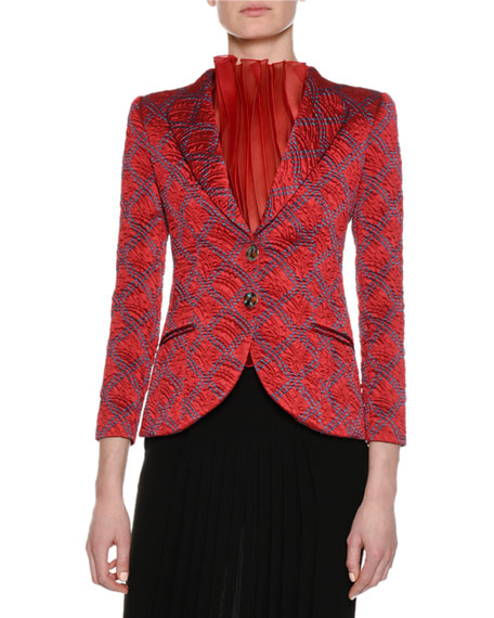 Giorgio Armani Graphic Jacquard Two-Button Jacket, Red