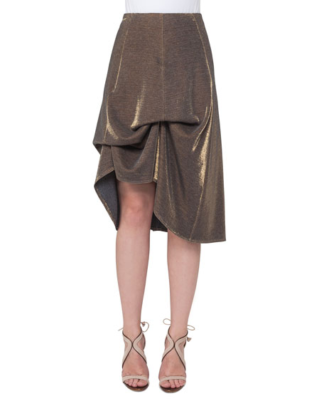 Akris Metallic Jersey Bustle A-Line Skirt, Gold