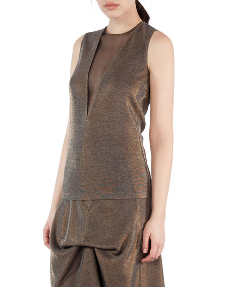 Metallic Jersey Sleeveless Top with Tulle Inset, Gold