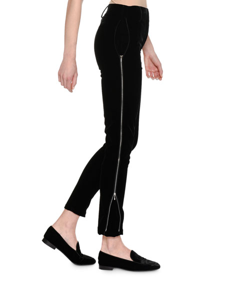 Velvet Side-Zip Pants, Black