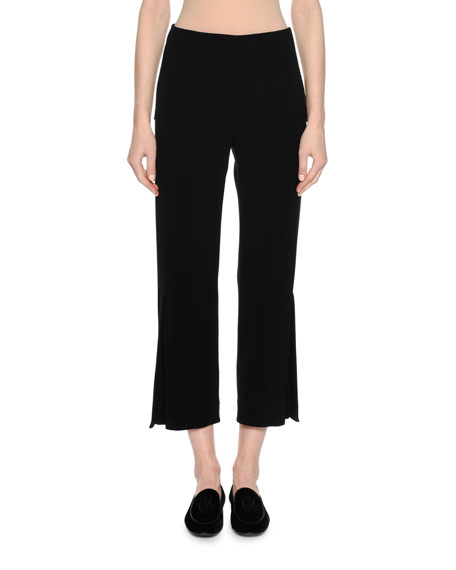 Giorgio Armani Cady Cropped Pants with Side Vents,