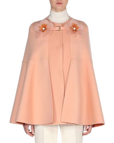 Cashmere Cape with Mink Flower Buckle