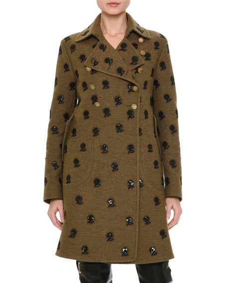 Floral-Embroidered Mid-Length Coat, Green/Brown