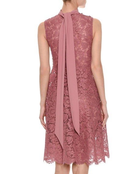 Sleeveless Heavy Lace Dress w/Scarf Tie