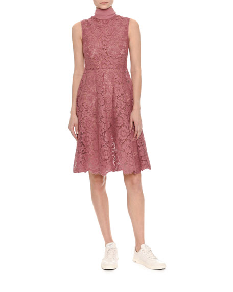 Sleeveless Heavy Lace Dress w/Scarf Tie