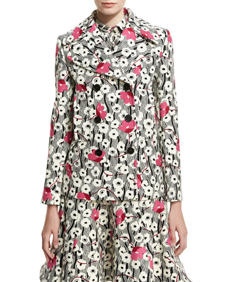 Valentino Double-Breasted Floral Wave Jacket, Multi and Matching