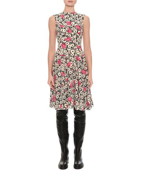 Sleeveless Floral Wave Dress, Multi