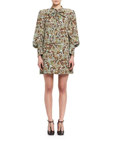 Butterfly Garden Paisley Tie-Neck Dress, Brown/Multicolor