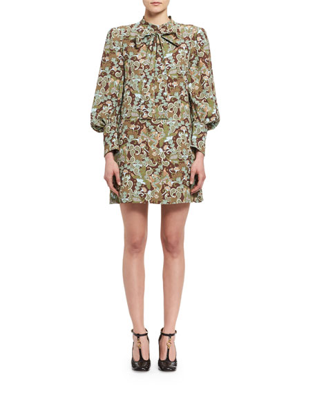 Chloe Butterfly Garden Paisley Tie-Neck Dress, Brown/Multicolor