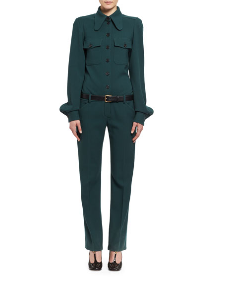 Wool Utility Jumpsuit, Dark Green