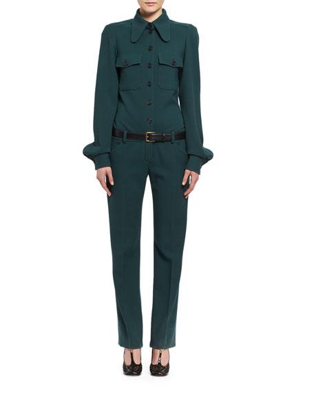Wool Utility Jumpsuit, Dark Green