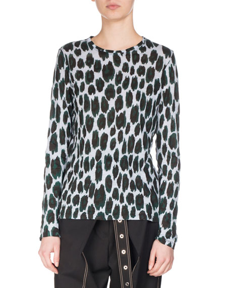 Ikat Leopard Long-Sleeve T-Shirt, Blue/Deep Pine/Black