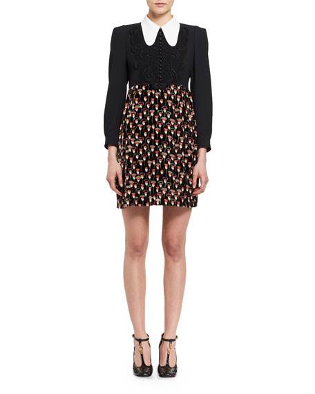 Chloe Long-Sleeve Crepe & Velvet Poppy-Print Minidress,