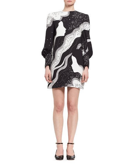 Chloe Dream Galaxy Cady Shift Dress, Black/White