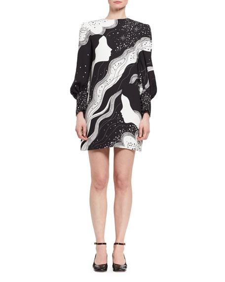 Chloe Dream Galaxy Cady Shift Dress, Black/White