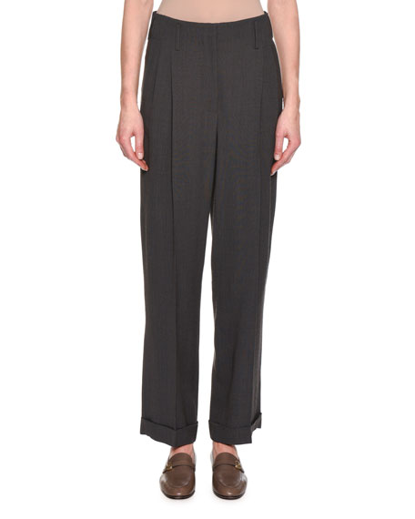 Giorgio Armani Chevron Mixed-Pleated Fashion Pants, Taupe and