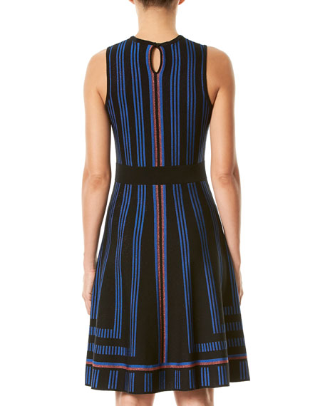 Geometric Metallic-Stripe Sweaterdress, Blue/Black