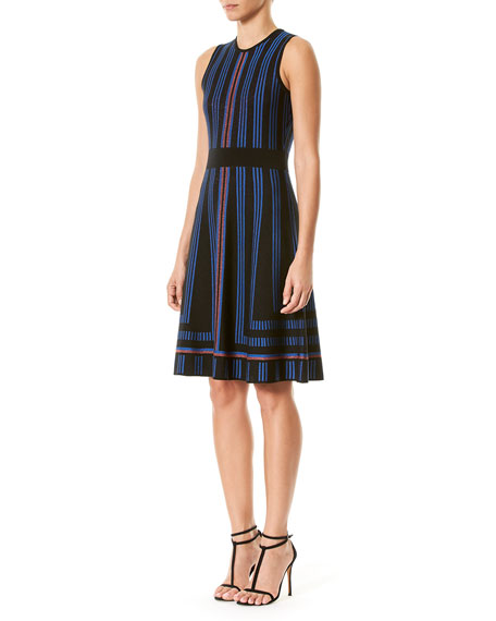 Geometric Metallic-Stripe Sweaterdress, Blue/Black
