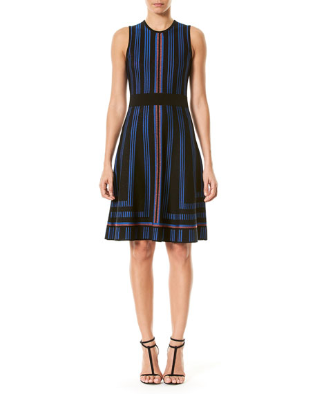 Carolina Herrera Geometric Metallic-Stripe Sweaterdress, Blue/Black