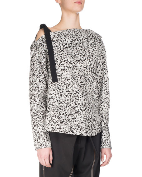 Proenza Schouler Popcorn Flower Off-the-Shoulder Tunic Top,