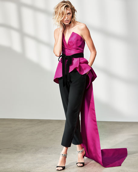Strapless Peplum Top with Velvet Ribbon, Bright Pink/Black