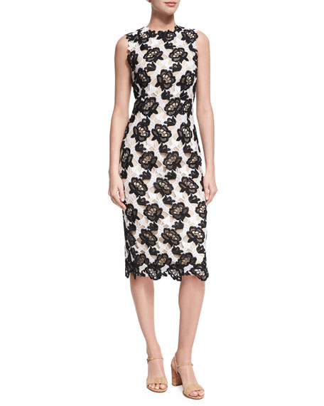 Monique Lhuillier Floral Guipure Lace Sleeveless Sheath Dress,