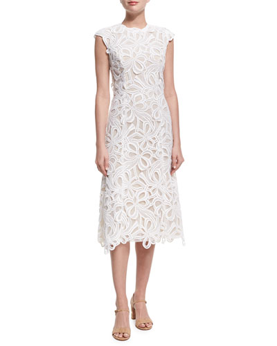 Ribbon Guipure Lace Sleeveless Cocktail Dress, Ecru