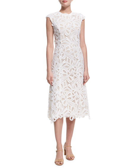 Monique Lhuillier Ribbon Guipure Lace Sleeveless Cocktail Dress,