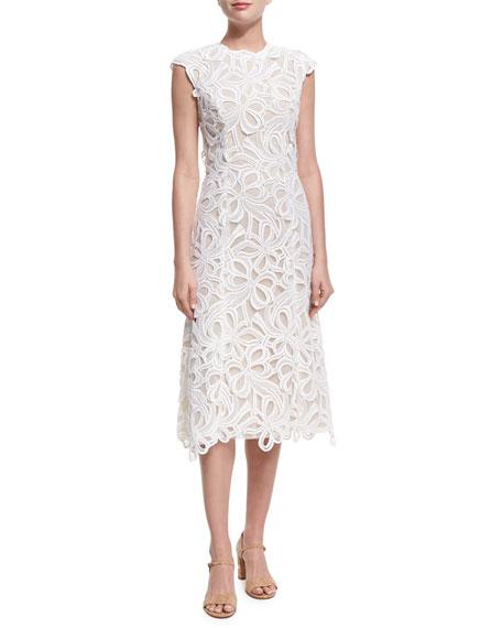 Ribbon Guipure Lace Sleeveless Cocktail Dress, Ecru