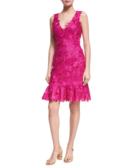 Monique Lhuillier Floral Guipure Lace Sleeveless Flounce Dress,