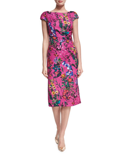 Floral-Print Pebbled Jacquard Sheath Dress, Bright Pink
