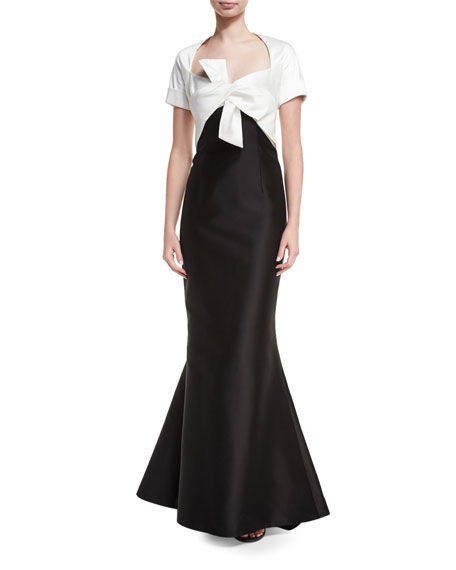 Carolina Herrera Two-Tone Tie-Front Mermaid Gown, Black/White