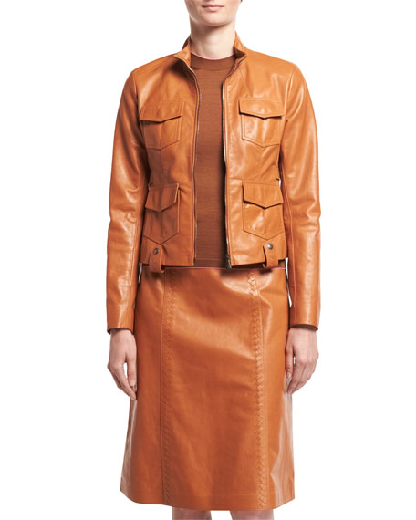 Bottega Veneta Calf Leather A-Line Skirt and Matching