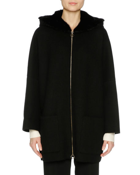 Cashmere Zip-Front Parka with Mink Fur Hood, Black