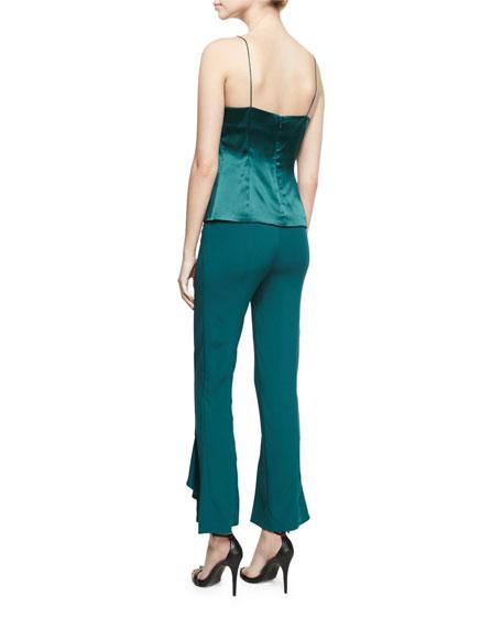 Paulina Silk Satin Drape-Front Camisole Top