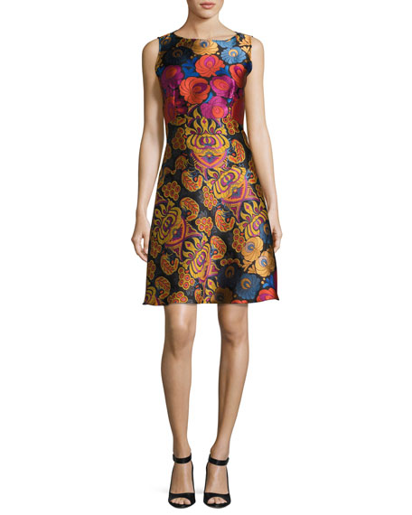 Etro Floral Brocade Sleeveless A-Line Dress, Black
