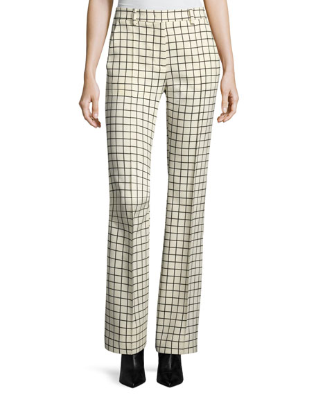 Windowpane Stretch-Wool Trousers, Ivory