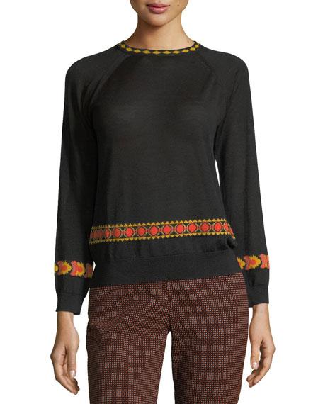 Etro Intarsia 3/4-Sleeve Sweater, Black