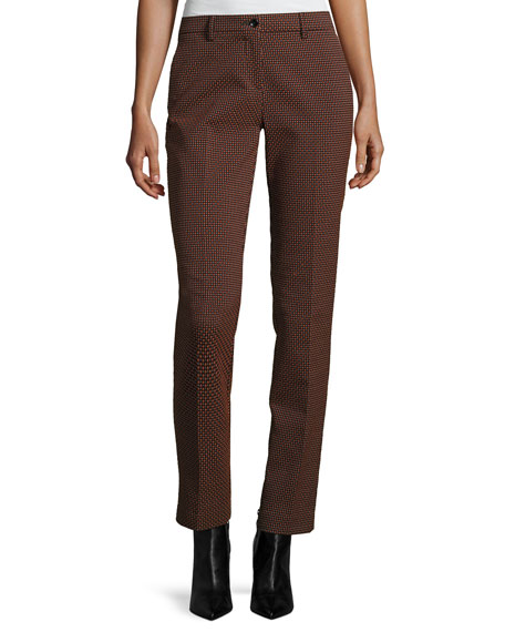 Etro Dobby Straight-Leg Ankle Pants, Orange and Matching