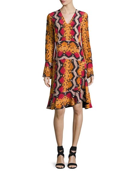 Etro Snake-Print Silk V-Neck Flounce Dress, Orange