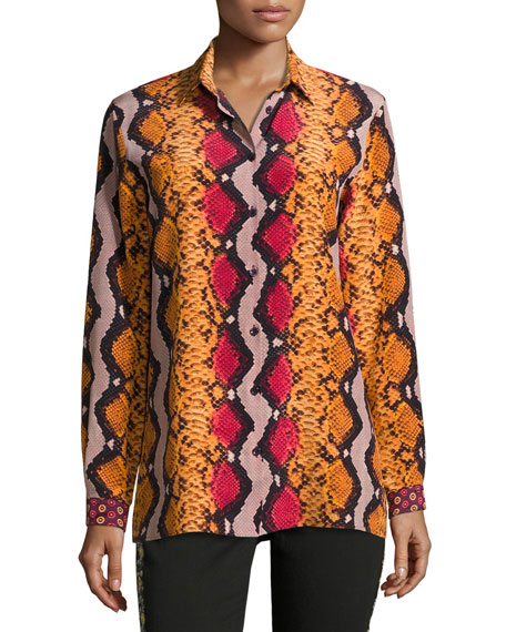 Etro Snakeskin-Print Silk Blouse, Orange