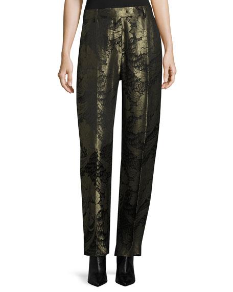 Floral Lamé Jacquard Straight-Leg Pants, Black