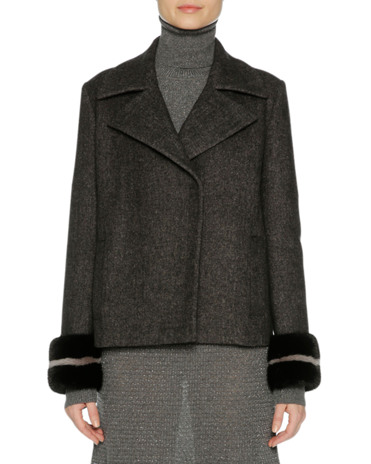 Agnona Wool-Cashmere Peacoat with Mink Fur Cuffs