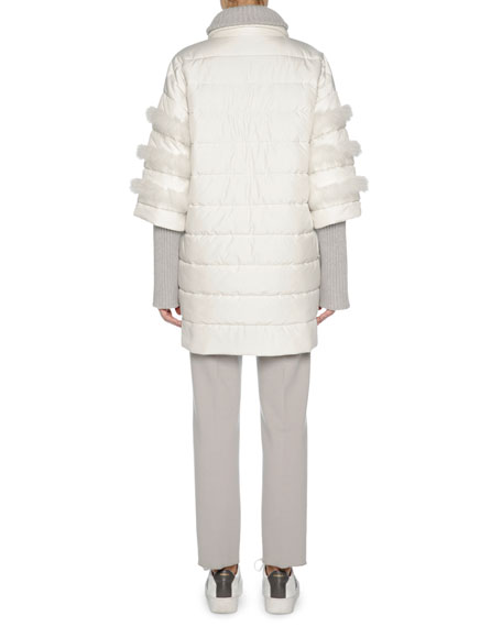 Puffer Jacket with Fox Fur Trim, White